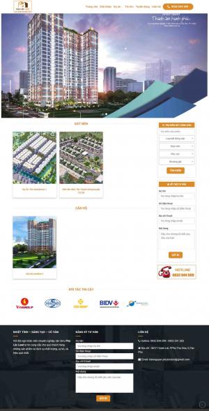 Mẫu giao diện thiết kế website bất động sản một sự án giá rẻ