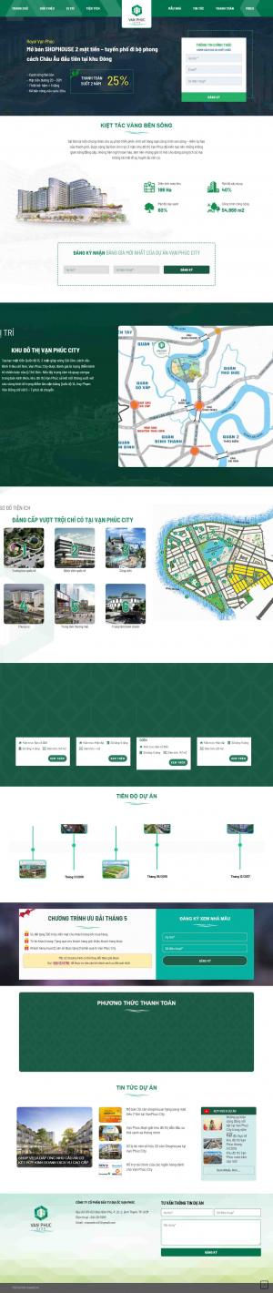 Mẫu giao diện thiết kế web bất động sản 1 dự án giá rẻ