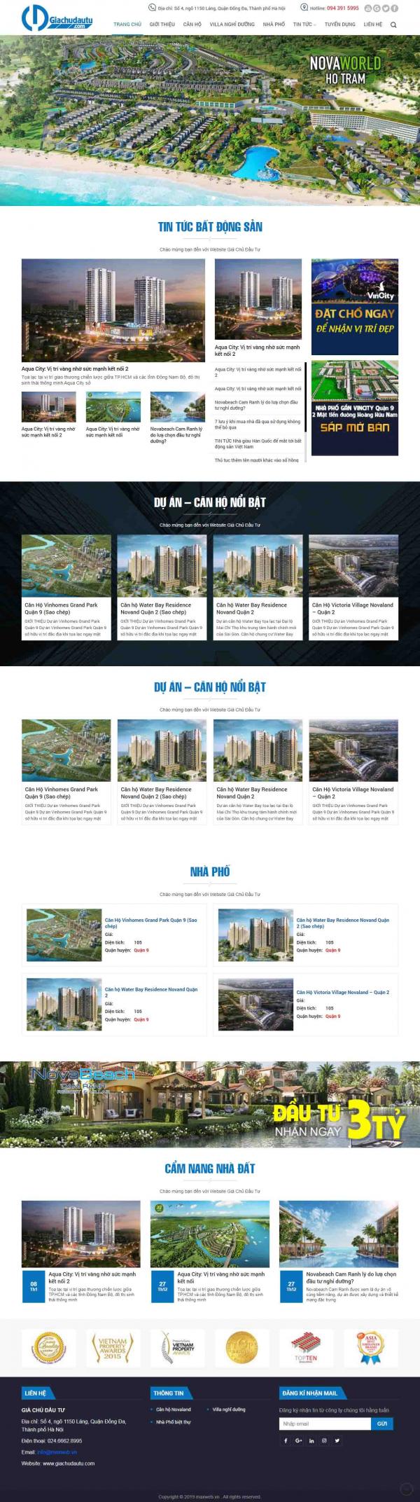 Mẫu giao diện thiết kế web bất động sản đẹp