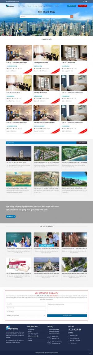 Mẫu giao diện thiết kế website bất động sản nhiều dự án giá rẻ