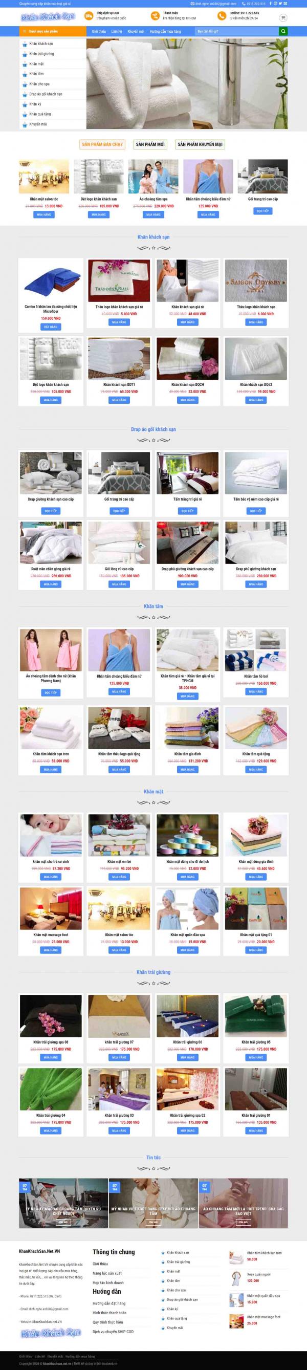 Mẫu giao diện thiết kế website bán hàng khăn khách sạn