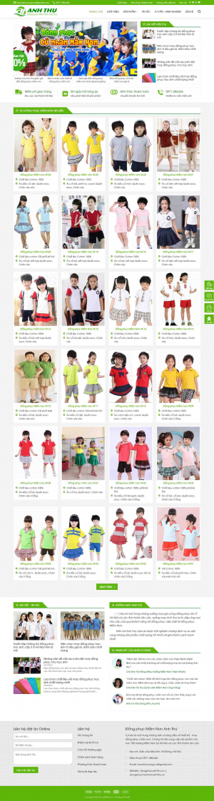 Mẫu giao diện thiết kế website bán hàng quần áo trẻ en