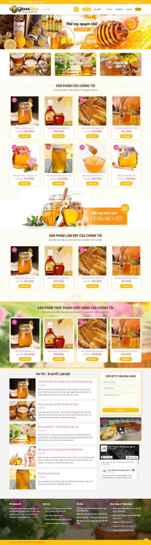 Mẫu giao diện thiết kế website bán hàng mật ong