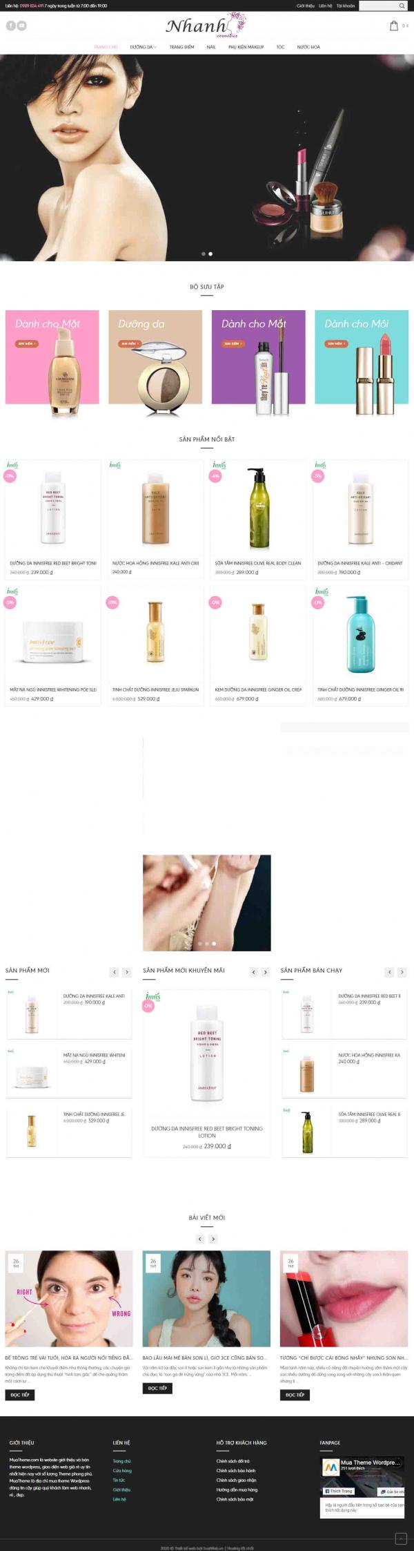 Mẫu giao diện thiết kế website bán hàng mỹ phẩm làm đẹp