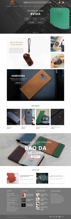 Mẫu giao diện thiết kế website bán hàng đồ da