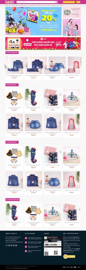 Mẫu giao diện thiết kế website bán hàng quần áo trẻ em