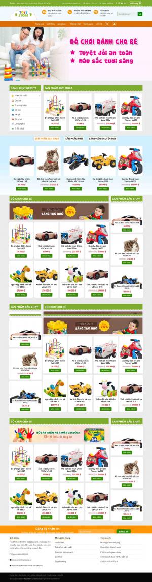 Mẫu giao diện thiết kế website bán hàng đồ chơi cho bé