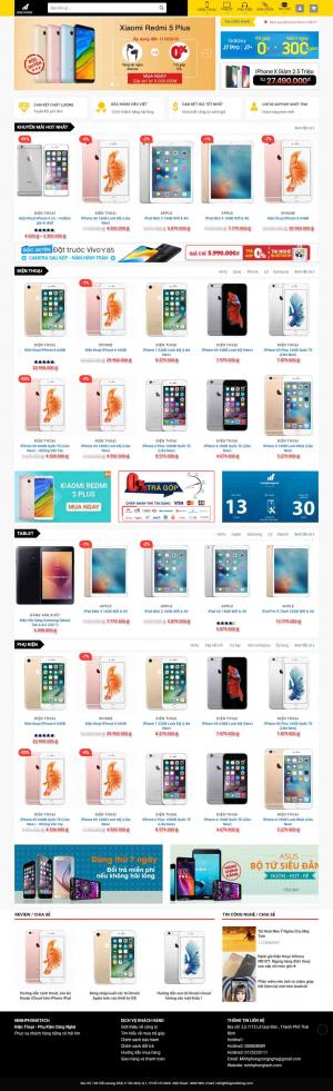 Mẫu giao diện thiết kế website bán hàng điện thoại