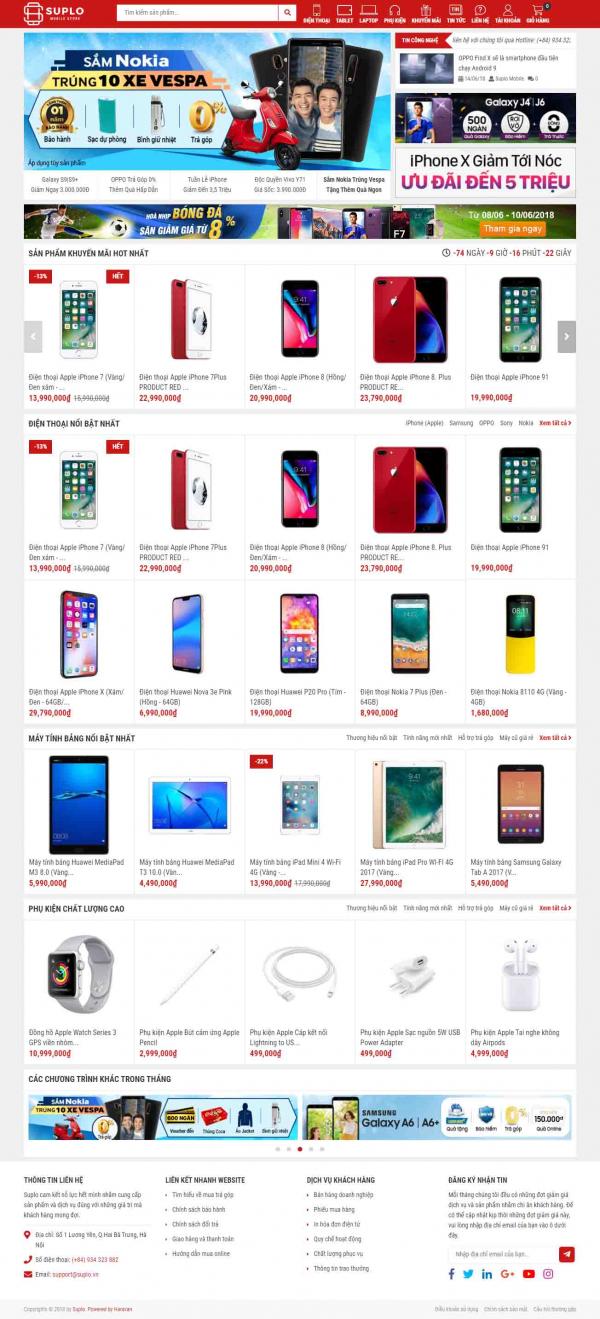 Mẫu giao diện thiết kế website bán hàng điện thoại thông minh