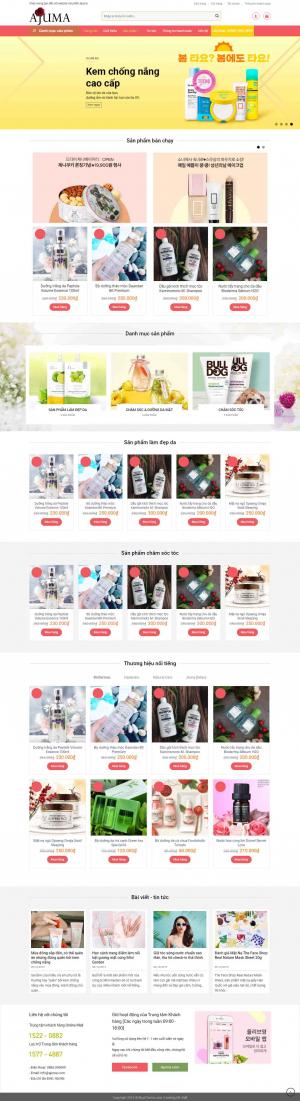 Mẫu giao diện thiết kế website bán hàng mỹ phẩm