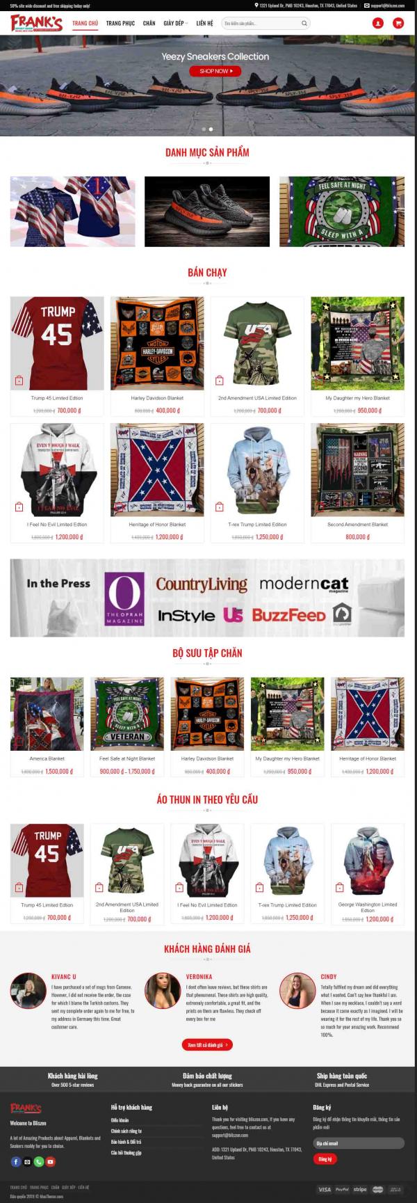 Mẫu giao diện thiết kế website bán hàng quần áo thể thao