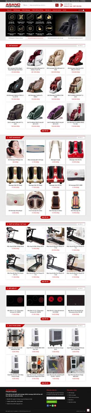 Mẫu giao diện thiết kế website bán hàng ghế massage