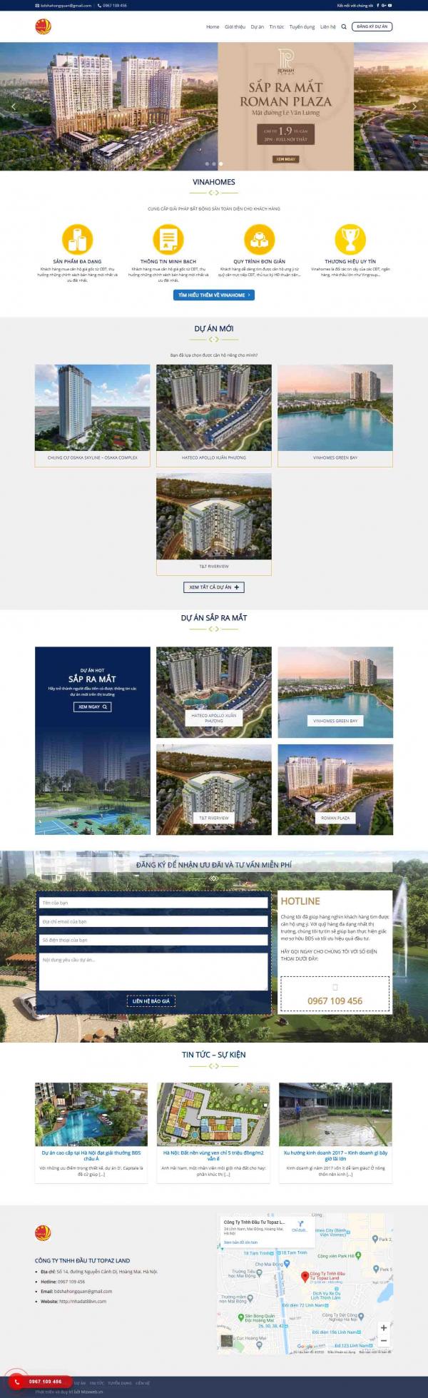 Mẫu giao diện thiết kế website landing page nhà đất