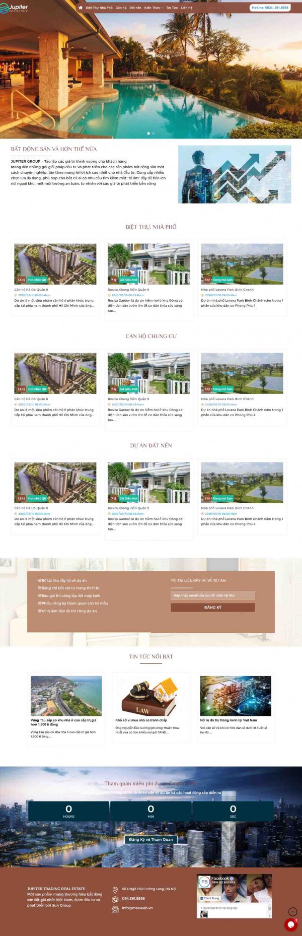Mẫu giao diện thiết kế web bất động sản