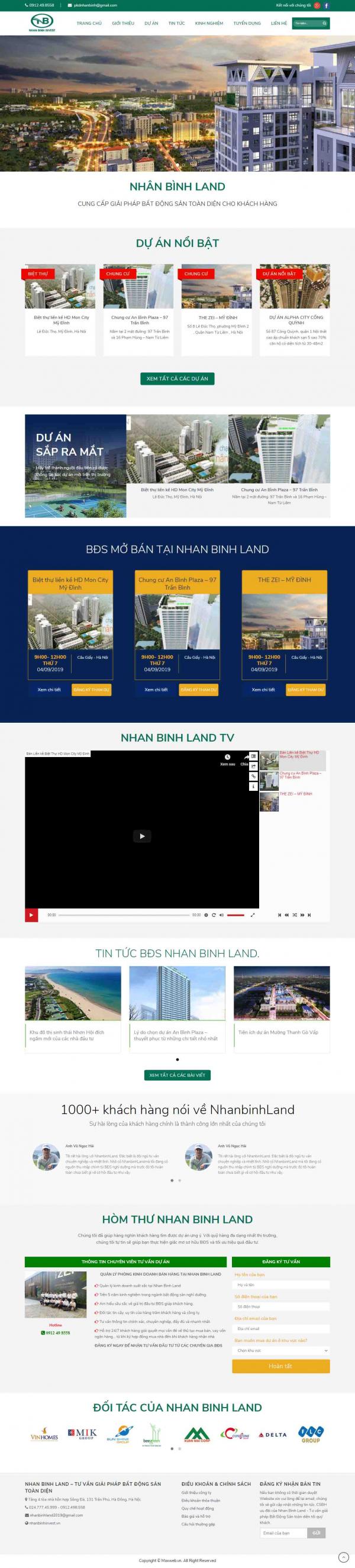 Mẫu giao diện thiết kế web nhà đất chuyên nghiệp
