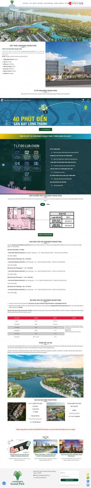 Mẫu giao diện thiết kế web landing page bds