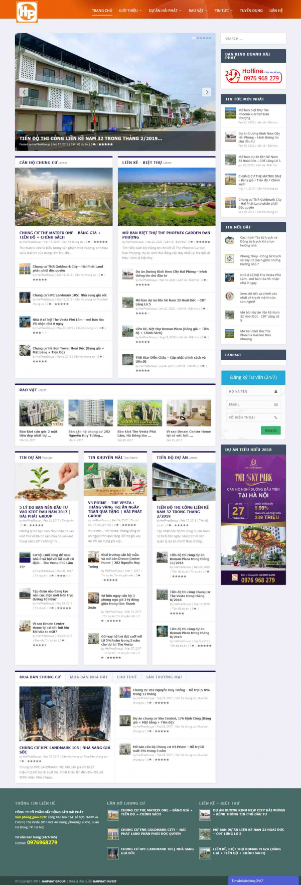 Mẫu giao diện thiết kế website nhà đất giá rẻ