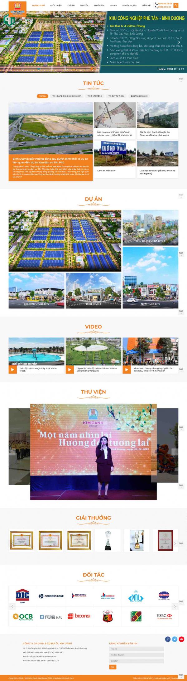 Mẫu trang web dự án bất động sản cho doanh nghiệp