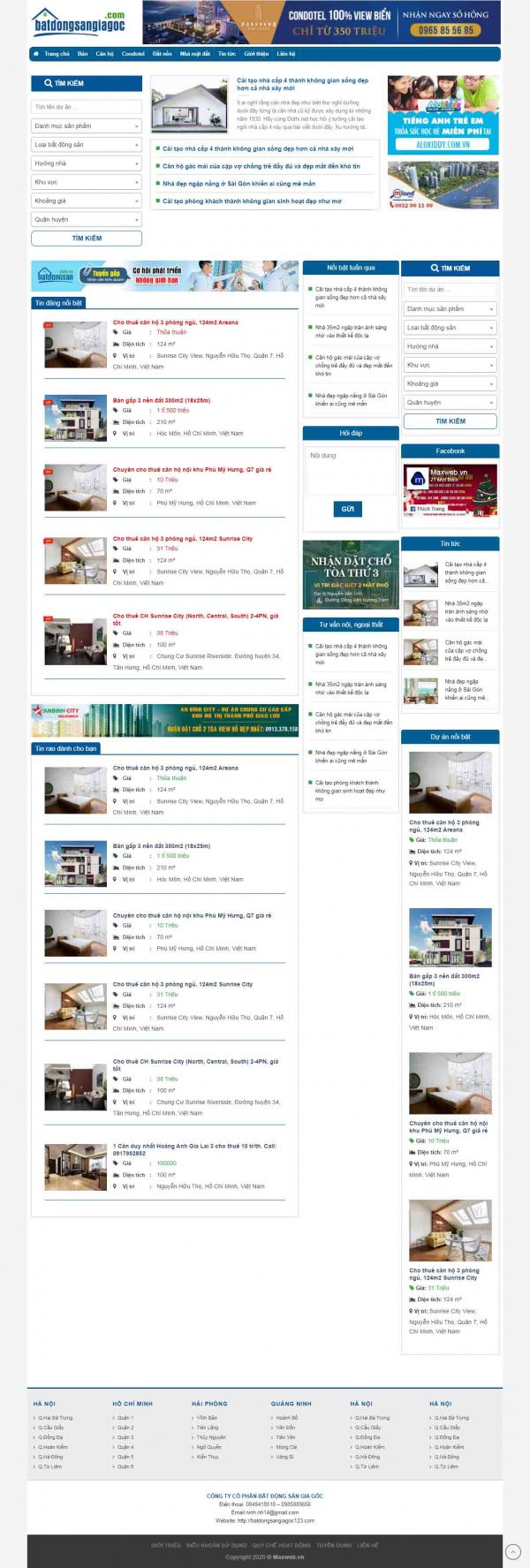 Mẫu thiết kế website bất động sản nhà đất
